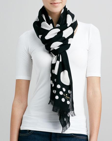 dotted fringe viscose scarf, black