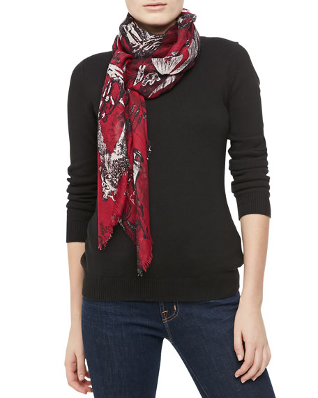 Balloon Toile Fringe Scarf, Ruby