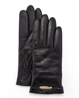 Burberry Leather Gloves, Black