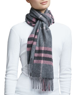 Burberry Giant Icon Check Cashmere Scarf, Blush