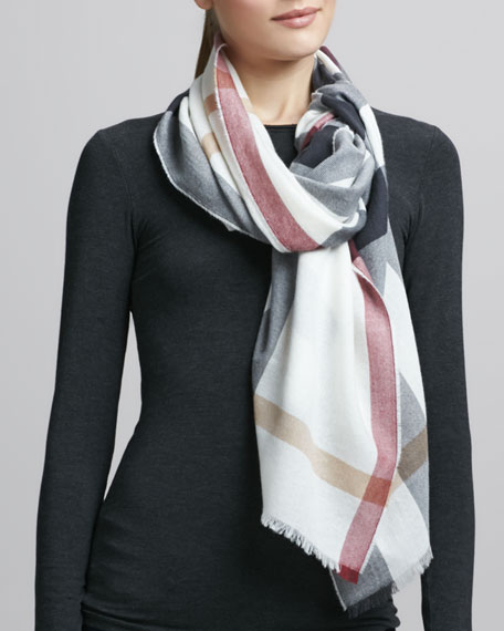 Luxe Fine Cashmere Check Scarf, Ivory