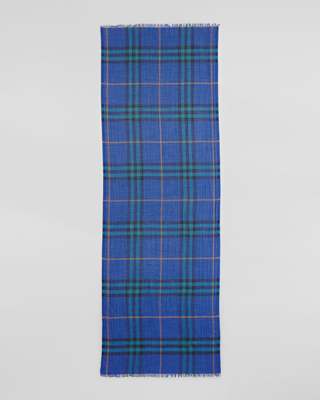 Giant Check Gauze Scarf, Blue