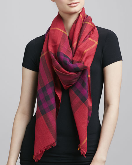 Giant Check Gauze Scarf, Pink