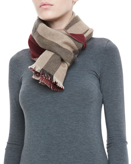 Solid-to-Check Cashmere Scarf