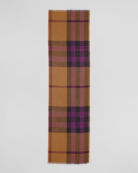 Half Mega Check Silk-Cashmere Scarf, Dark Camel
