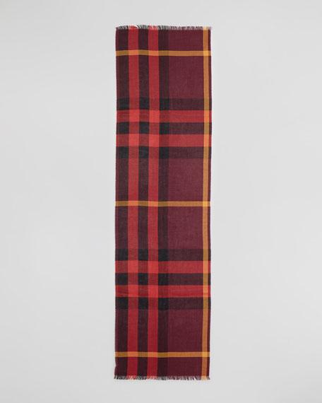 Half Mega Check Silk-Cashmere Scarf, Burgundy