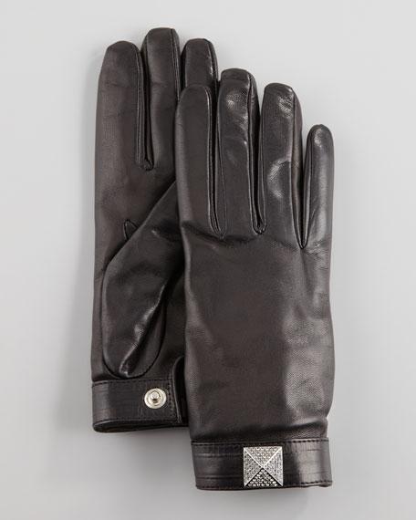 Noir Crystal-Stud Gloves