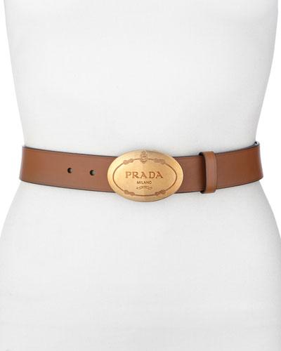 Prada Leather Logo Belt, Cinnamon