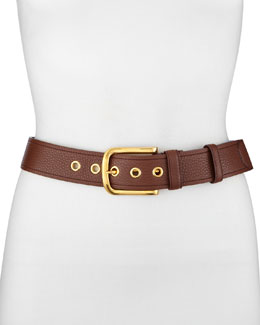Prada Classic Daino Leather Belt, Light Gray