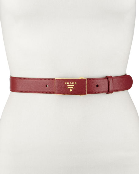Saffiano Leather-Buckle Belt, Burgundy