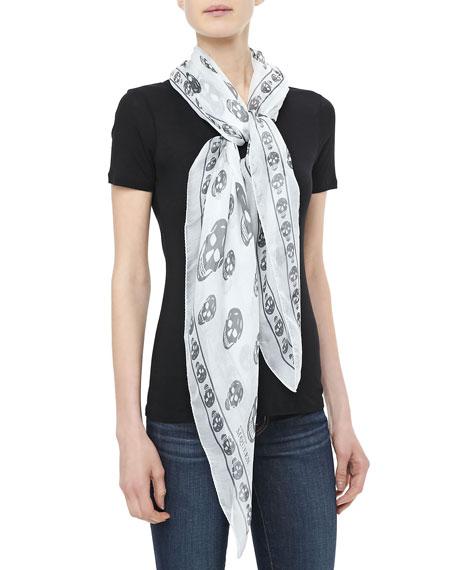 Skull-Print Chiffon Scarf, White/Gray