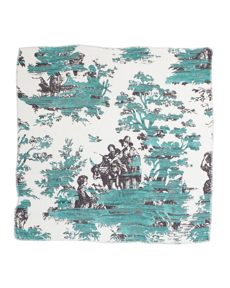 Grande Painted Toile Square Scarf, Teal