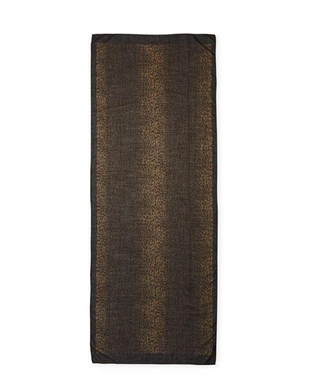 Baby Cat Leopard-Print Cashmere-Silk Scarf, Brown