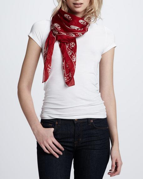 Skull-Print Chiffon Scarf, Red/White