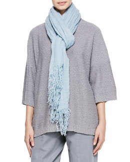 eskandar Linen Scarf, Light Blue Storm