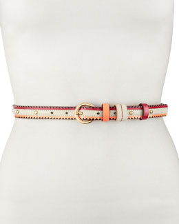Neiman Marcus Studded Multicolor Belt, White/Fuchsia/Pink