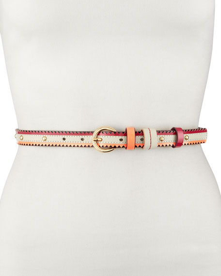 Studded Multicolor Belt, White/Fuchsia/Pink