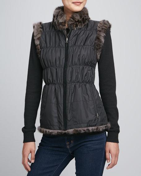 "Leopard-Print Rabbit Fur Vest, 24""L"