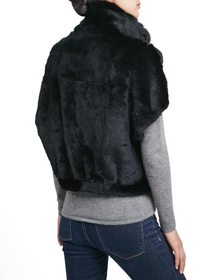 Sheared Rabbit Fur Bolero, Black