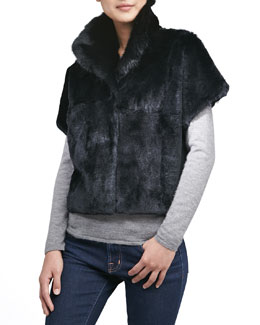 Jocelyn Sheared Rabbit Fur Bolero, Black