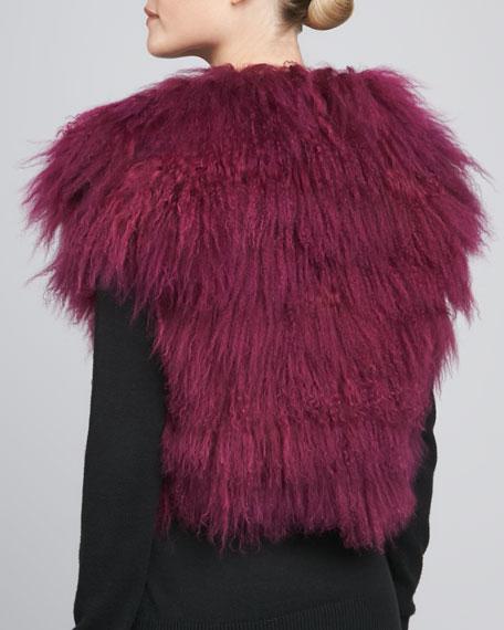 Tibetan Lamb Fur Vest, Magenta