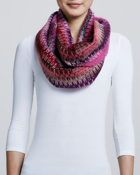 Infinity Zigzag-Knit Scarf, Pink