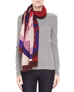 Tory Burch Reva Animal-Print Block Scarf, Purple/Pink