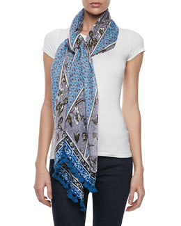 Tory Burch Olea Mixed Floral Tassel Scarf, Blue
