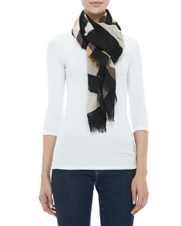 Tory Burch Reva Colorblock T-Logo Scarf, Black/Beige/White