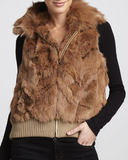 Jocelyn Ziggy Zip-Front Fur Vest
