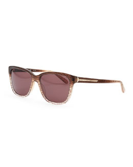 Givenchy Two-Tone Patterned Sunglasses, Brown/Smoke