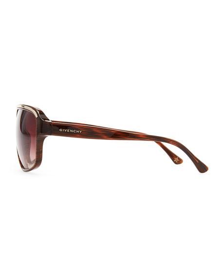 Wide-Bridge Gradient Sunglasses, Brown