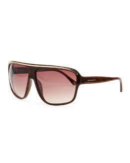 Givenchy Wide-Bridge Gradient Sunglasses, Brown