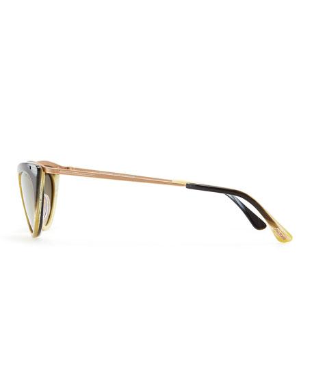 Grace Cat-Eye Sunglasses, Green/Honey