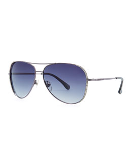 MICHAEL Michael Kors  Sadie Aviator with Crystals
