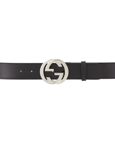 Gucci Smooth Leather Belt with GG Buckle, Black