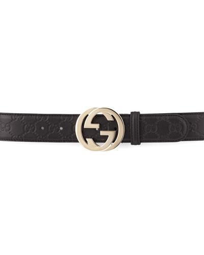 Gucci G-Adjustable Logo Leather Belt, Black