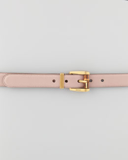 Gucci Bamboo-Buckle Leather Belt, Beige