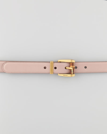 Bamboo-Buckle Leather Belt, Beige