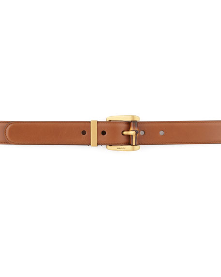 Bamboo-Buckle Leather Belt, Camel