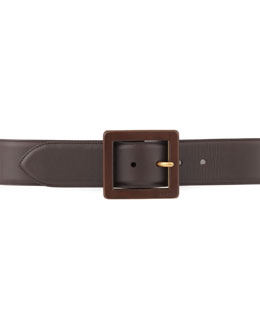 Gucci Square-Buckle Leather Belt, Brown