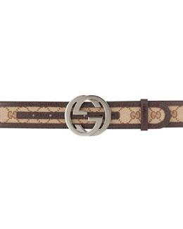 Gucci G-Adjustable Logo Canvas Belt, Brown