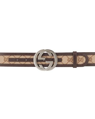 Gucci G-Adjustable Logo Canvas Belt, Brown