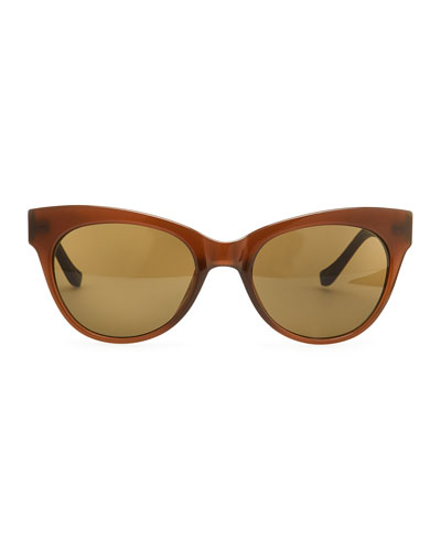 Cat-Eye Leather-Arm Sunglasses, Walnut