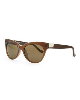 THE ROW Cat-Eye Leather-Arm Sunglasses, Walnut