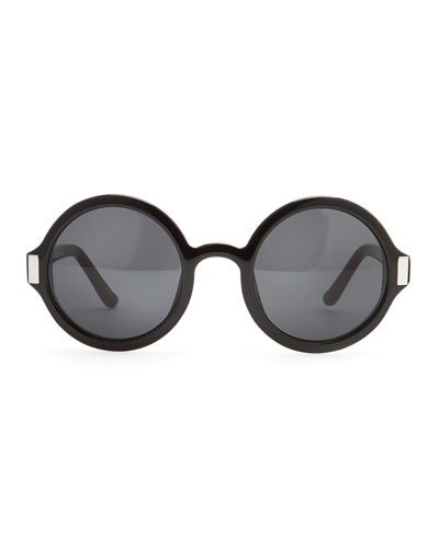 Round Acetate Sunglasses, Black/Gray