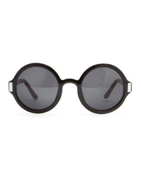 Round Acetate Sunglasses, Black/Gray