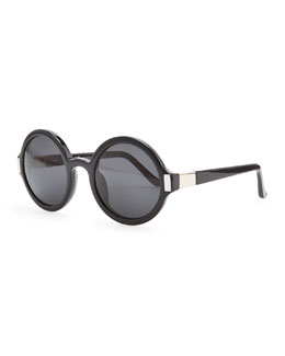 THE ROW Round Acetate Sunglasses, Black/Gray