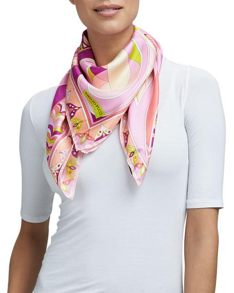 Tragara Square Silk Scarf, Pink