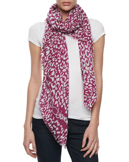Kenley Spotted Cashmere Scarf, Fuchsia